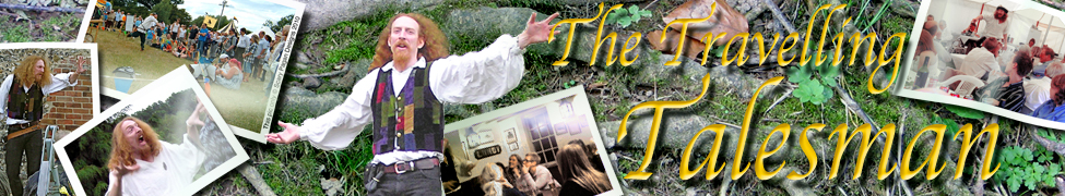 The Travelling Talesman banner featuring pictures of the Talesman in action scattered as postcards on a leafy forest floor